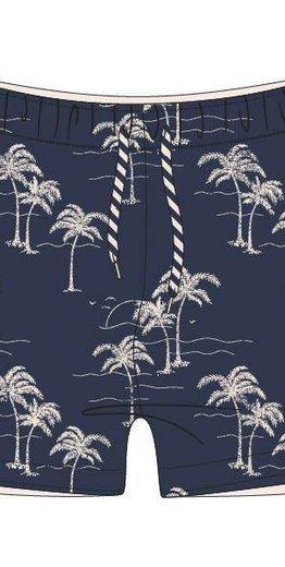 Woody Jongens-Heren zwembroek, palm donkerblauw all-over print