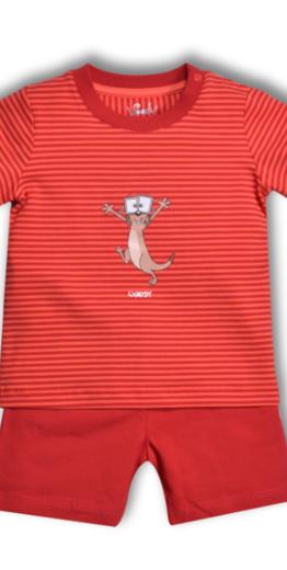 Woody Jongens-Heren pyjama, koraalroze burgundyrood gestreept