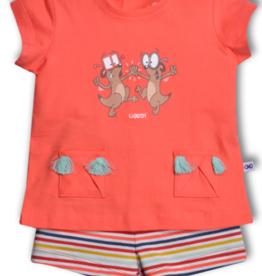Woody Meisjes pyjama, koraal roze