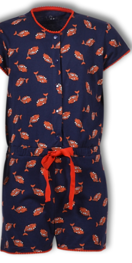 Woody Meisjes-Dames jumpsuit, koi donkerblauw all-over print