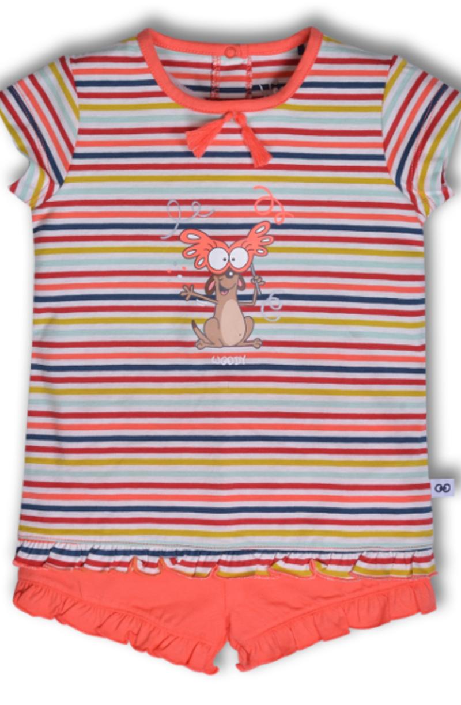 Woody Meisjes pyjama, multicolor Stokstaartje gestreept