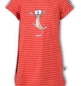 Woody Slaapkleed, koraalroze burgundyrood gestreept