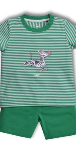 Woody Jongens-Heren pyjama, groen gestreept