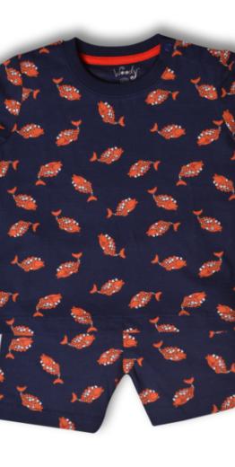 Woody Jongens-Heren pyjama, koi donkerblauw all-over print