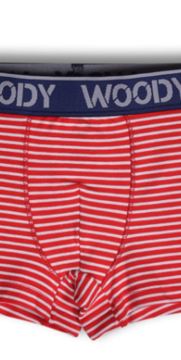 Woody Jongens short, rood gebroken wit gestreept