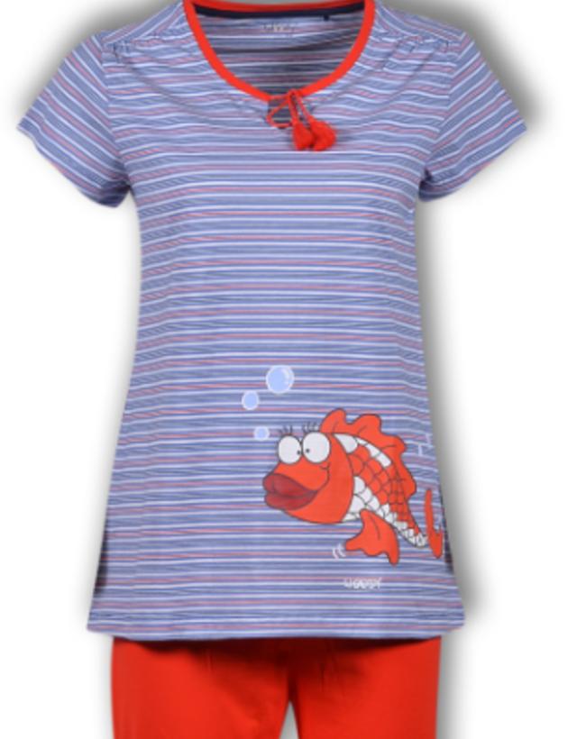 Woody Meisjes-Dames pyjama, multicolor Koi gestreept