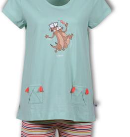 Woody Meisjes-Dames pyjama, licht muntgroen