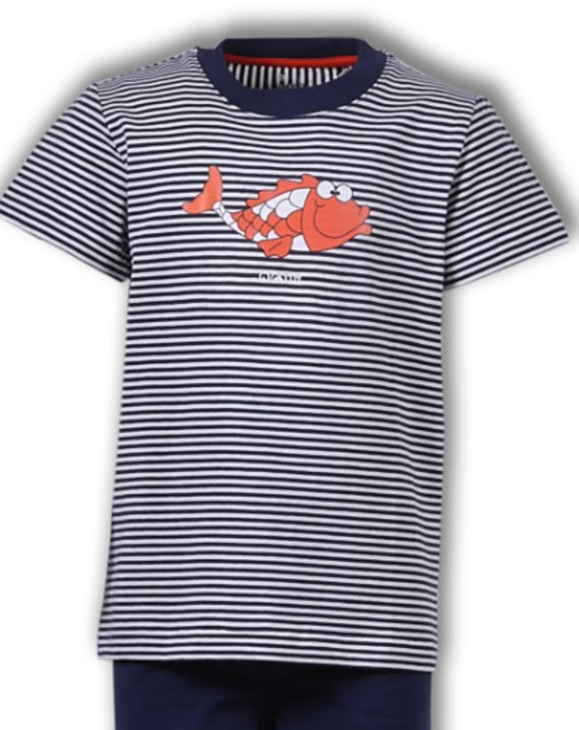 Woody Jongens-Heren pyjama, donkerblauw gebroken wit gestreept