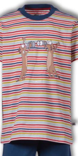 Woody Jongens-Heren pyjama, multicolor Stokstaartje gestreept