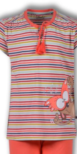 Woody Meisjes-Dames pyjama, multicolor Stokstaartje gestreept