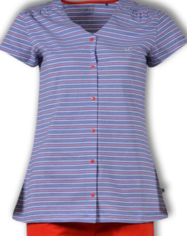 Woody Dames pyjama, multicolor Koi gestreept