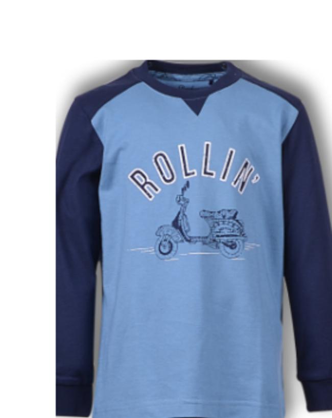 Woody Jongens-Heren pyjama, licht denimblauw