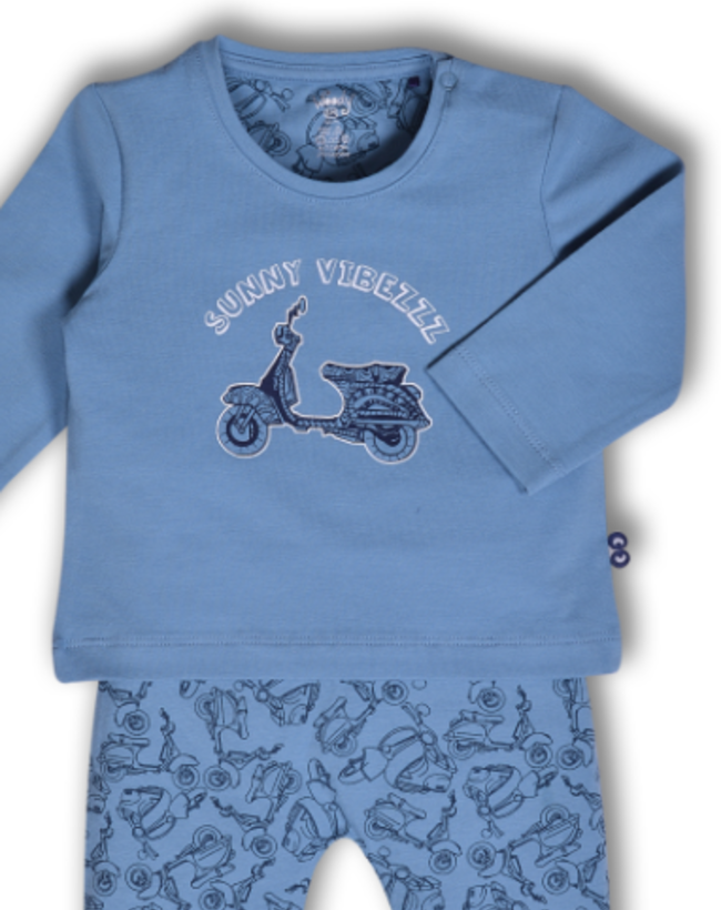 Woody Jongens pyjama, licht denimblauw