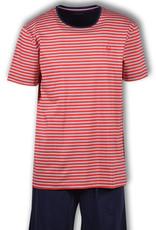 Woody Heren pyjama, rood gebroken wit gestreept