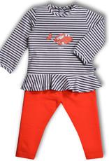 Woody Meisjes pyjama, donkerblauw gebroken wit gestreept