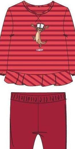 Woody Meisjes pyjama, koraalroze burgundyrood gestreept