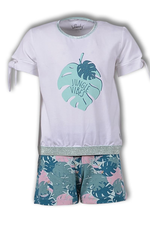 Woody Meisjes-Dames t-shirt en short, licht muntgroen