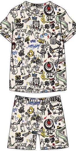 Woody Jongens-Heren pyjama, wit # WOODY 25 all-over print