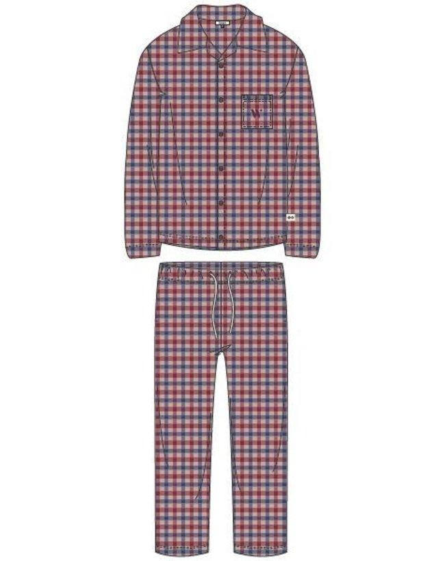 Woody Jongens-Heren pyjama, rood-blauw geruit
