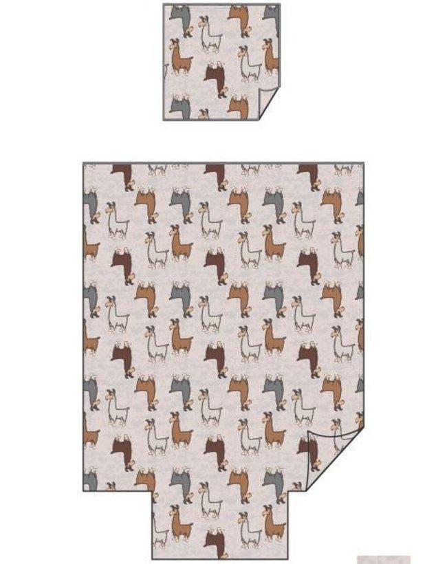 Woody Dekbedovertrek, beige alpaca all-over print