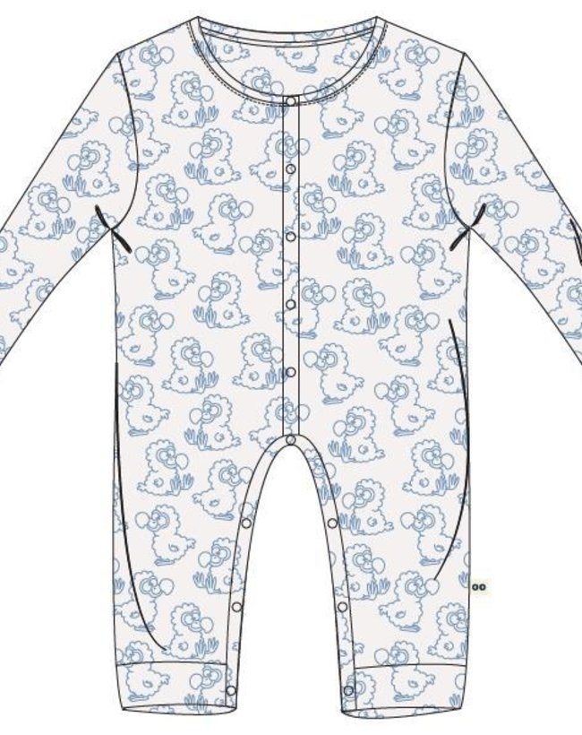 Woody Unisex Romper, wit dodo all-over print