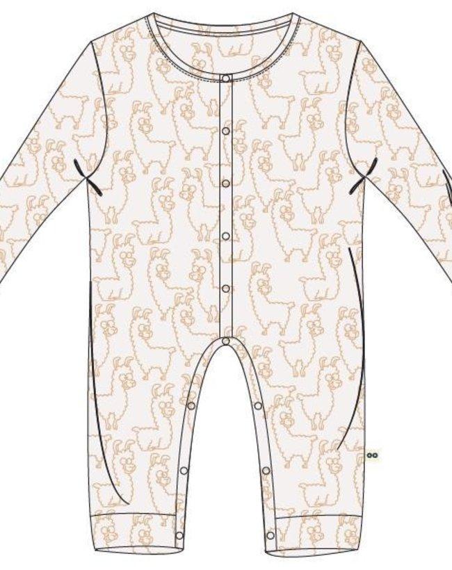 Woody Unisex Romper, wit alpaca all-over print
