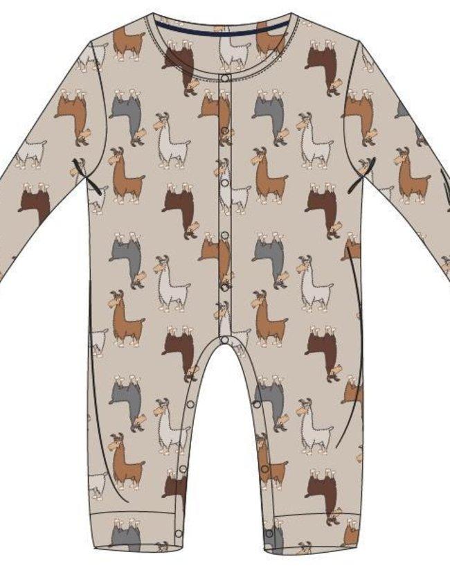 Woody Unisex Romper, beige alpaca all-over print