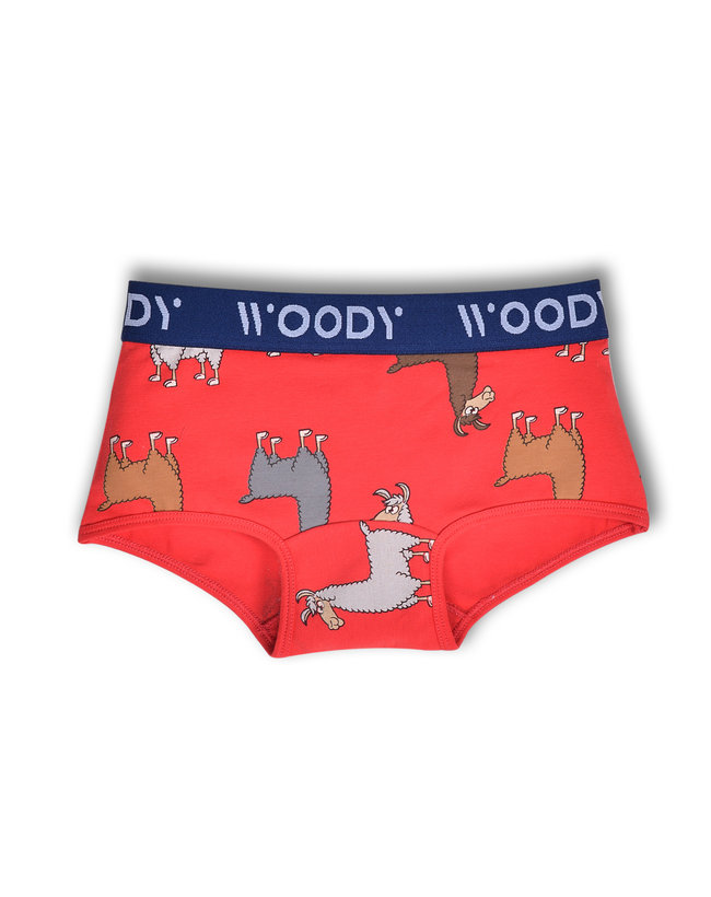 Woody Meisjes short, rood alpaca all-over print