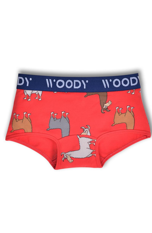 Woody Jongens short, rood alpaca all-over print