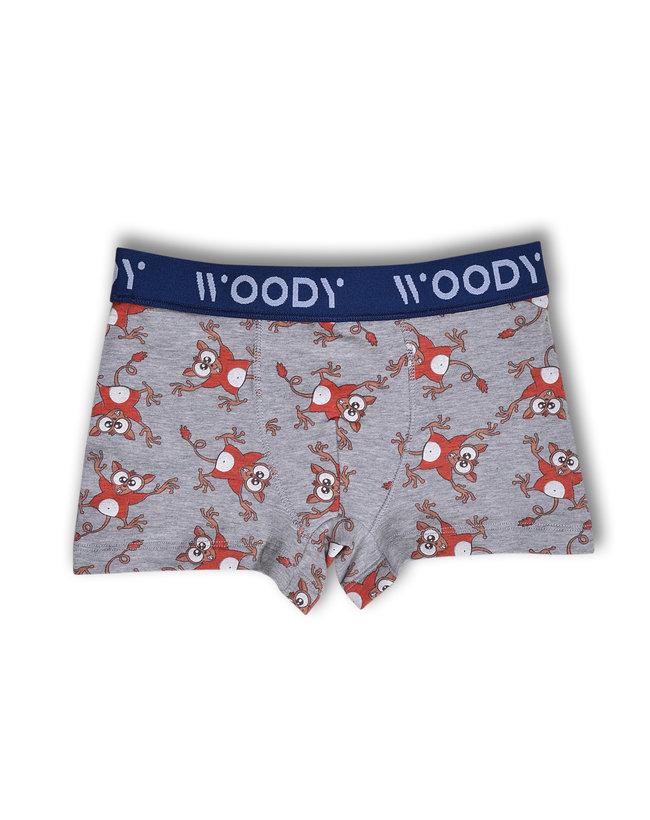 Woody Jongens short, grijs spookdier all-over print