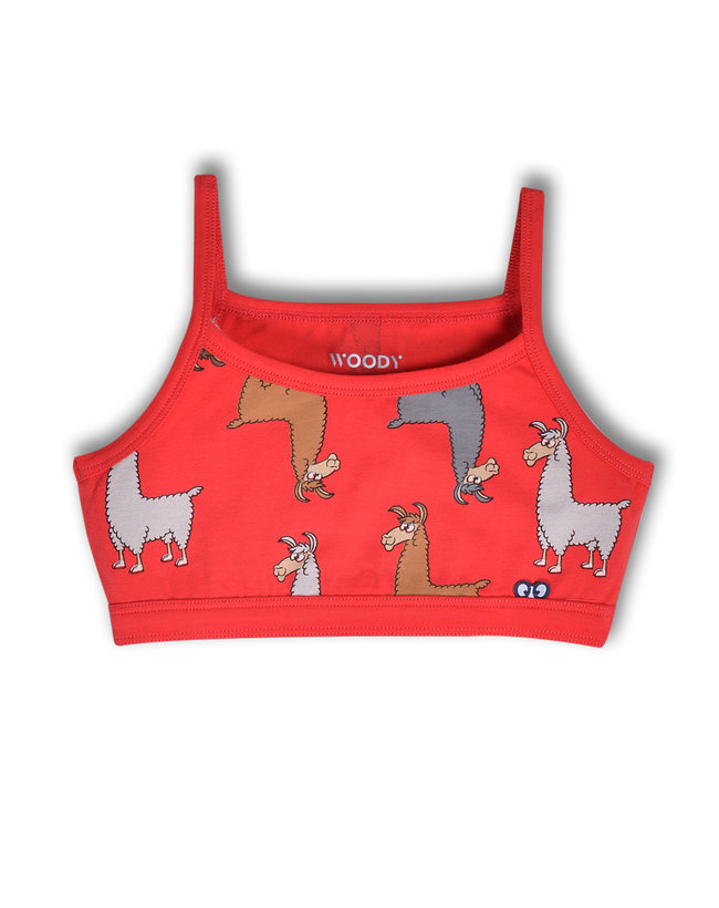Woody Topje, rood alpaca all-over print