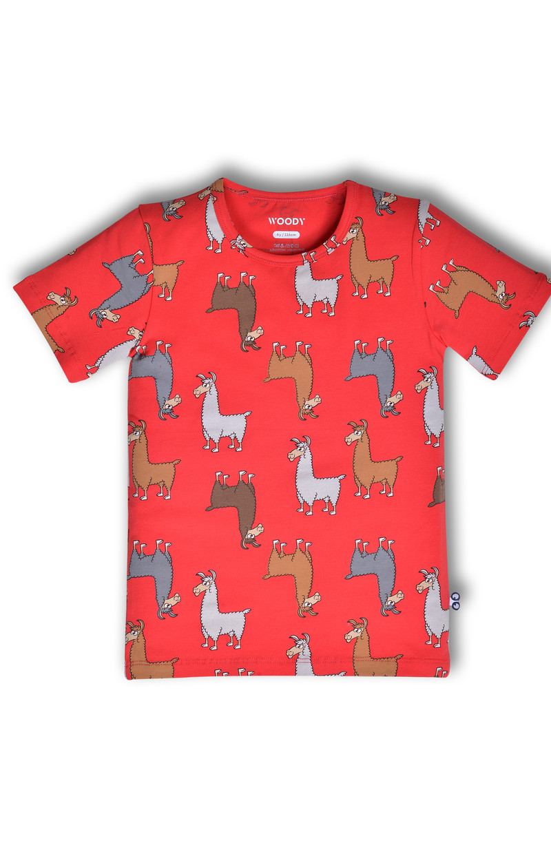 Woody Unisex t-shirt, rood alpaca all-over print