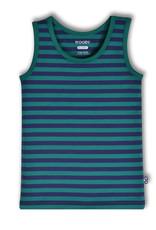 Woody Jongens singlet, donkerblauw-groen gestreept