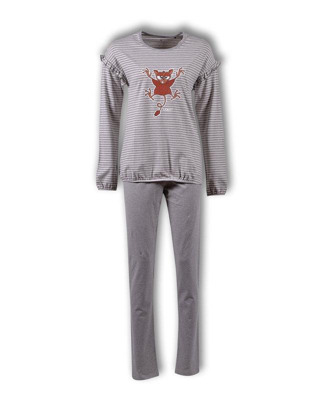 Woody Meisjes-Dames pyjama, gebroken wit-grijs melange gestreept