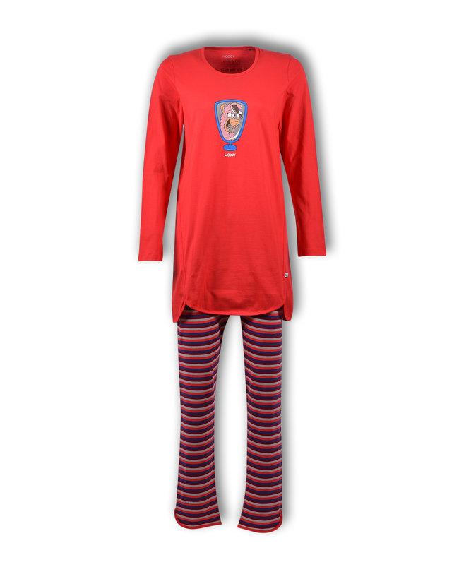 Woody Meisjes-Dames pyjama, tomatenrood