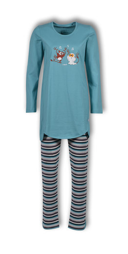 Woody Meisjes-Dames pyjama, ijsblauw