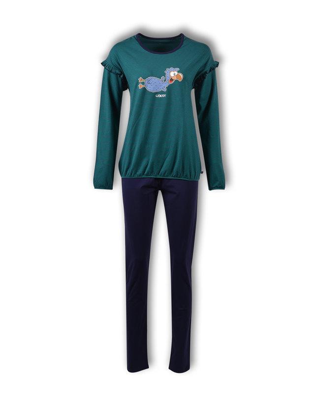 Woody Meisjes-Dames pyjama, donkerblauw-groen gestreept