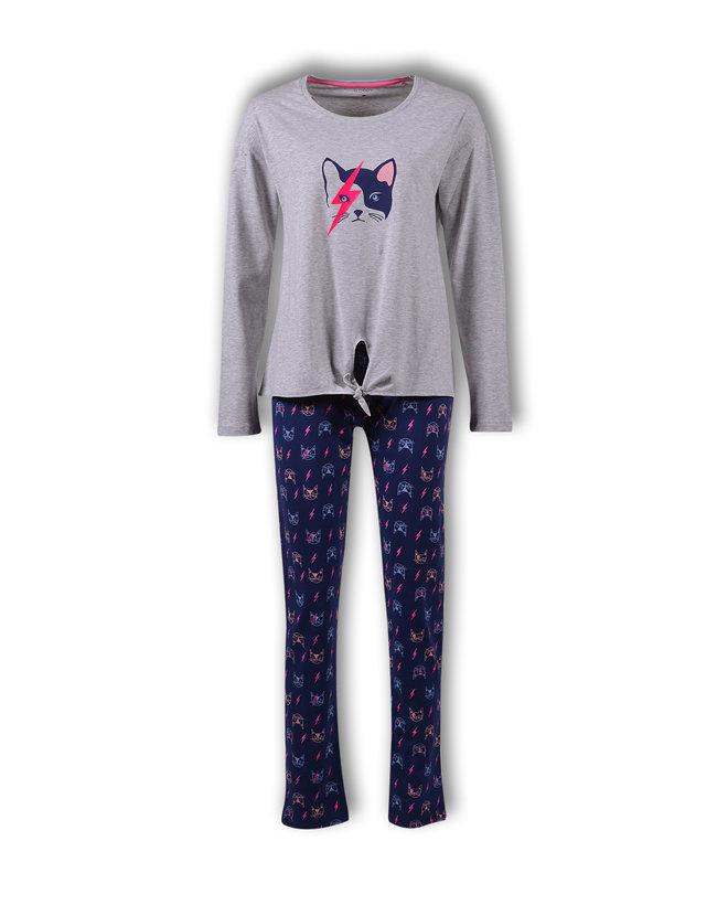 Woody Meisjes-Dames pyjama, licht grijs mélange