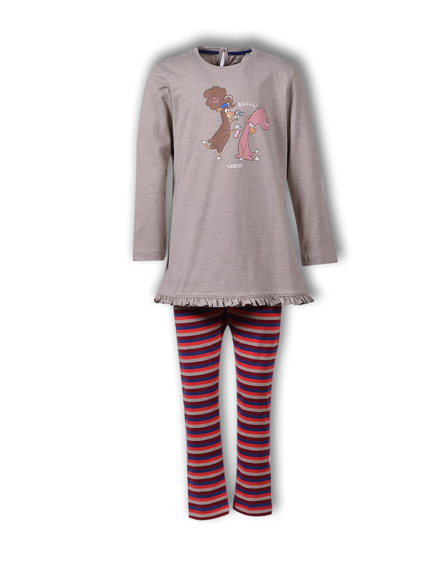 Woody Meisjes-Dames pyjama, beige cotton melange