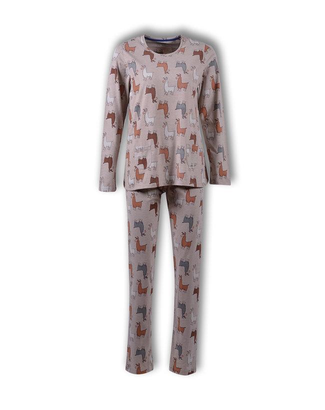 Woody Meisjes-Dames pyjama, beige alpaca all-over print