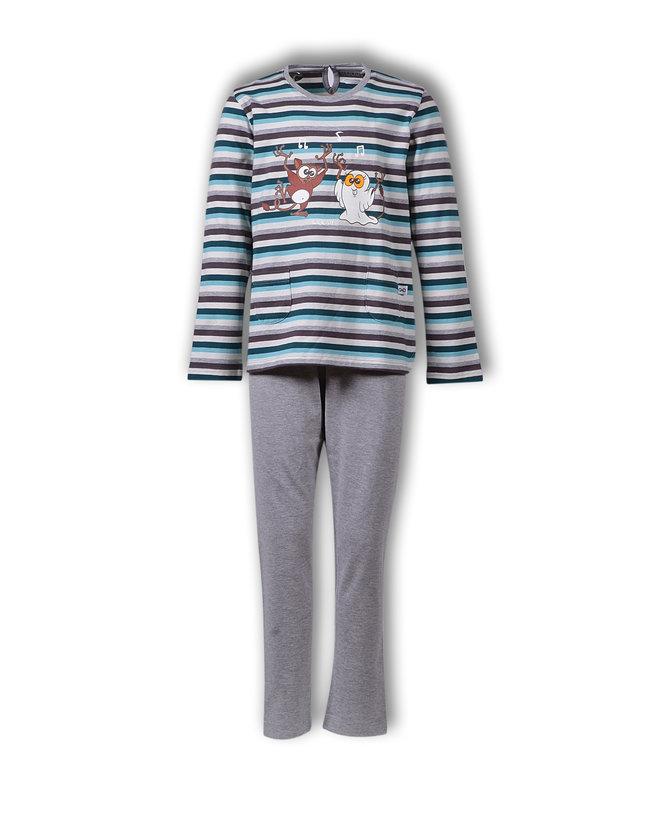 Woody Meisjes-Dames pyjama, petrol-grijsblauw gestreept