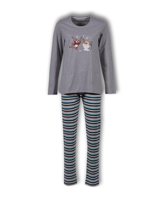 Woody Meisjes-Dames pyjama, grijs melange