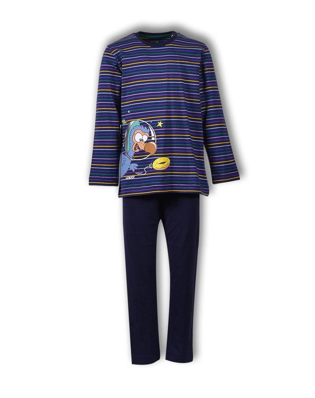 Woody Jongens-Heren pyjama, donkerblauw-paars gestreept