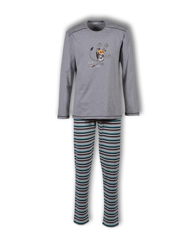 Woody Jongens-Heren pyjama, grijs melange
