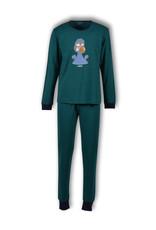 Woody Unisex pyjama, donkerblauw-groen gestreept