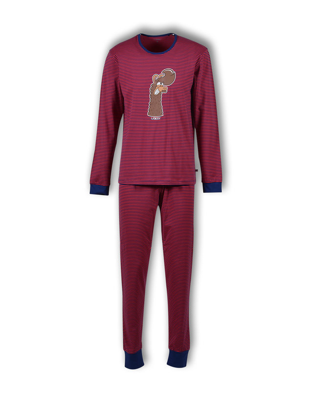 Woody Unisex pyjama, rood-donkerblauw gestreept
