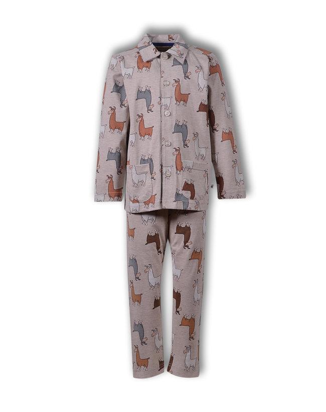 Woody Jongens-Heren pyjama, beige alpaca all-over print