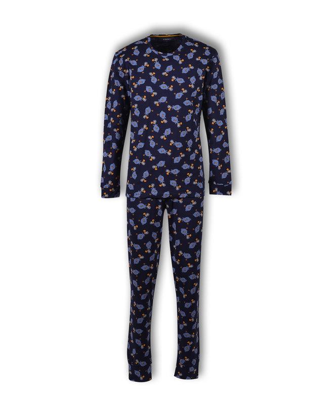 Woody Jongens-Heren pyjama, donkerblauw dodo all-over print