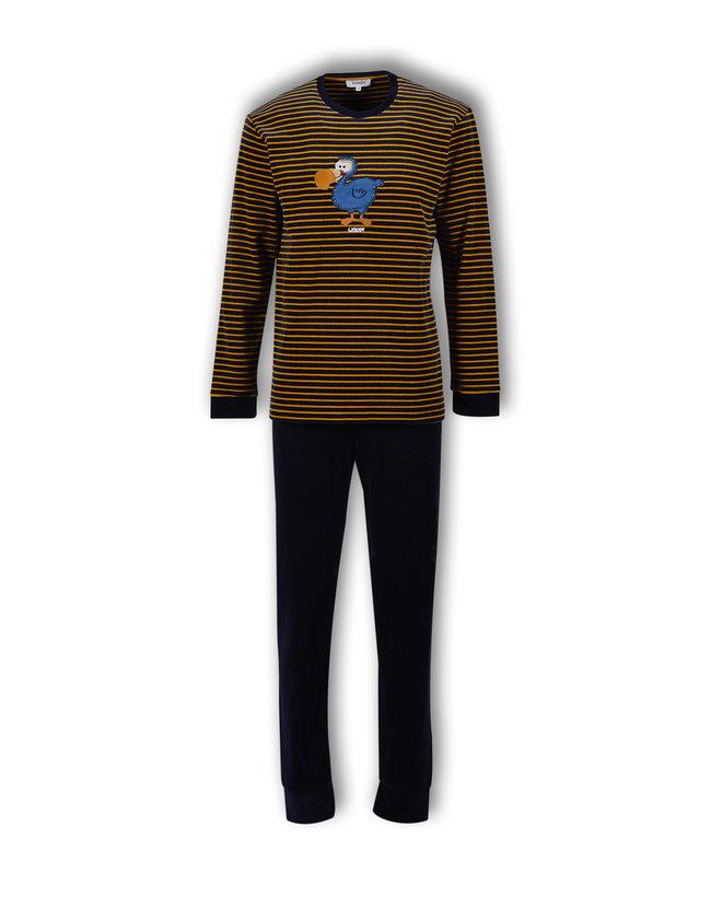 Woody Jongens-Heren pyjama, donkerblauw-oker gestreept