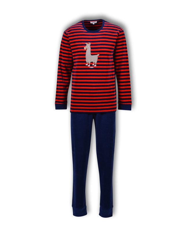 Woody Jongens-Heren pyjama, donkerblauw-rood gestreept